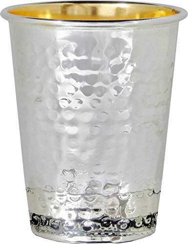 Kiddush Cup Hammered Design - 925 Sterling Silver Coated - 5.5 Oz 3