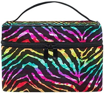 Bolsa de maquillaje de viaje Rainbow Animal Zebra Print Estuche de cosméticos portátil Organizador Bolsa de aseo Bolsa de maquillaje Estuche de tren para mujeres Niñas: Amazon.es: Belleza