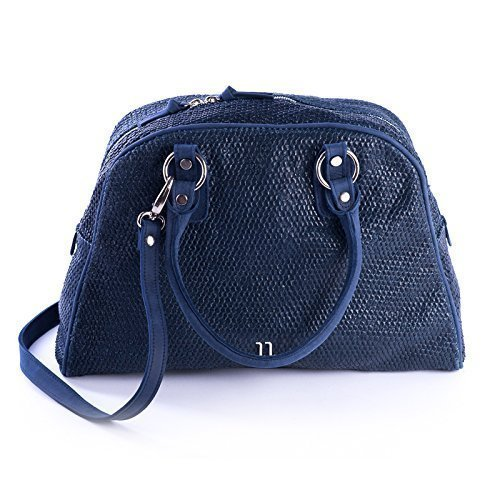 Blue Italian Textured Leather Tote Bag with Spacy Interior, Four Inner Pockets, and a Cross Shoulder Adjustable Strap, Women's Designer Handmade Bags
