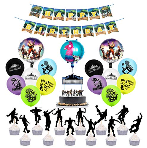 - 30 Pack Gaming Party Supplies Set,Balloons,Cupcake toppers and banners used for Video Game birthday Kids Battle Royale Gamer Decorations