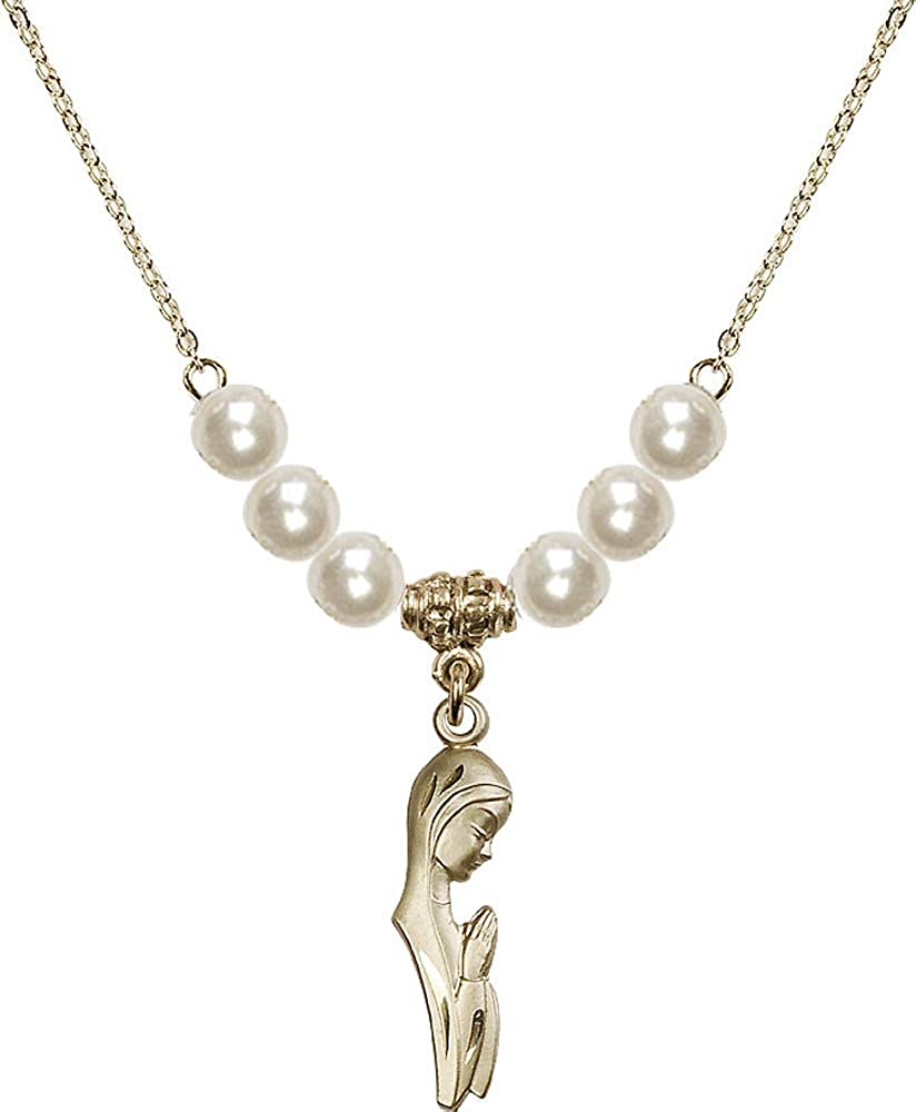 18-Inch Hamilton Gold Plated Necklace with 6mm Faux-Pearl Beads and Madonna Charm.