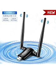 MingBin USB WiFi Adaptador Receptor WiFi, 1200Mbps Antena con USB 3.0 Wireless 5DBI Banda Doble 2.4GHz/5.8GHz WiFi Dongle para Desktop/Laptop/PC, Compatible con Windows 10/8/7 XP Mac OS