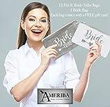 AMERIBA Premium Canvas Natural Cotton Makeup Bags- Bridal Favors for Bridal Events (1 Bride Bag + 12 pk Bride Tribe Bags)