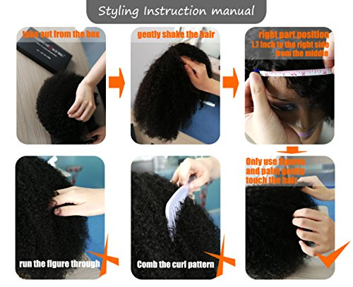 Chantiche Silk Top Invisible Deep Parting Short Kinky Curly Lace Wigs For Black Women Natural Looking Brazilian Remy Human Hair Wigs With Right Part 14 Inch #1B(GL-0103) by Chantiche Lace Wig (Image #4)