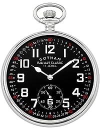 Men's Silver-Tone Mechanical Hand Wind Railroad Pocket Watch # GWC14103SB