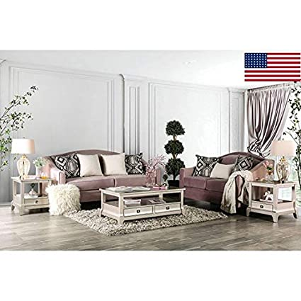 Amazon Com Esofastore Gorgeous Beautiful Lovely 2pc Sofa Set Blush