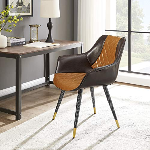 Volans Dining Chair Mid-Century Modern Retro Leather Upholstered Accent Arm Chair Club Guest with Metal Legs Home Office Side Desk Chair for Kitchen Living Room Bedroom Vanity Study, Brown& Dark Brown