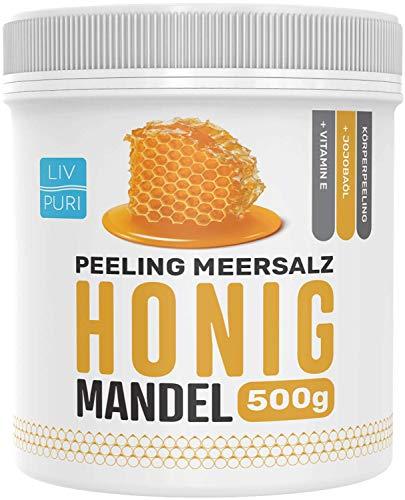LivPuri Peeling Meersalz Salz Honig Mandel mit Jojobaöl, 500g für Damen & Herren optimal anwendbar als Körperpeeling, Duschpeeling, Saunasalz, Body Scrub, Saunazubehör
