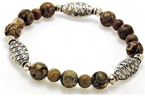 DZI Bead Stretch Bracelet with tribal carved oval spacers - Spacer Oval