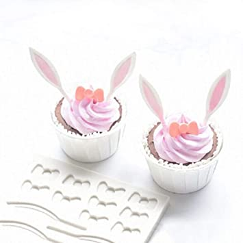 Dubleir Molde de Silicona de Grado alimenticio DIY Pascua Conejo Oreja Bowknot Fondant Molde de Chocolate Pastel Decoraciones: Amazon.es: Hogar