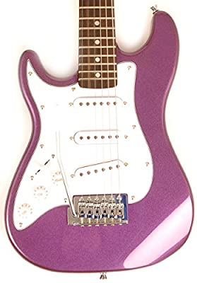 SX RST 1/2 MPP Left Handed 1/2 Size Short Scale Purple Guitar Package with Amp, Carry Bag and Instructional Video