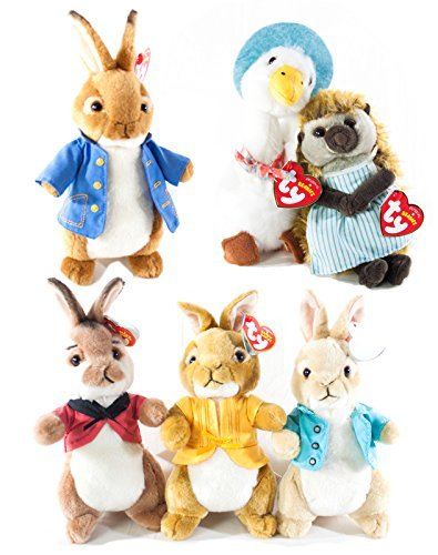 BEANIE BOOS TY Beanie Babies Gift Set Bundle of 6 Peter Rabbit Characters: Peter Rabbit, Flopsy, Mopsy Cottontail, Jemima Puddle Duck and Mrs. Tiggy Winkle