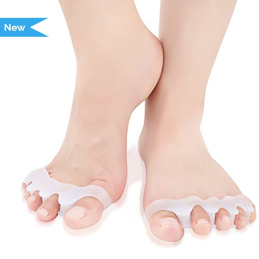 Toe Separators Relevo - Soft Gel Stretchers to Relieve Bunion Pain, Prevent Toe Overlap for Women and Men (1 pair, Off-White)