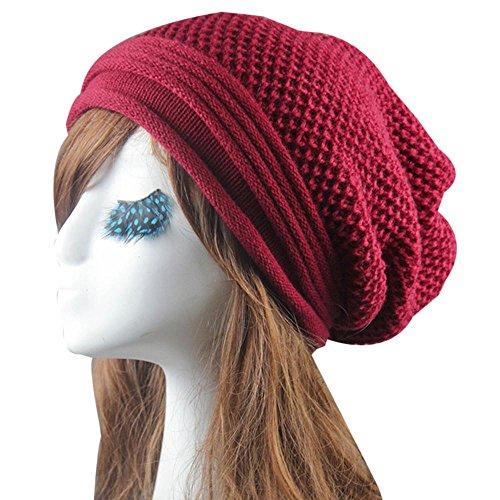WensLTD Knit Winter Warm Women Men Hip-Hop Skull Beanie Hat Baggy Unisex Ski Cap (Red)