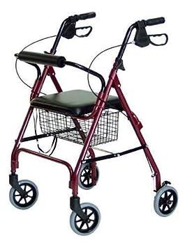 Andador caminador ROLLATOR aluminio con asiento y 4 ruedas ...