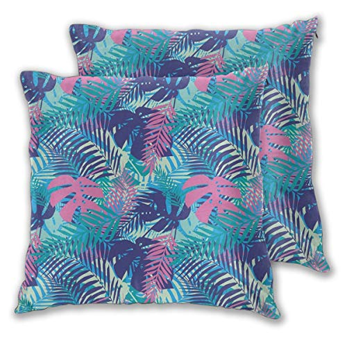 Wxcun Decor Pillow Covers Polyester Plush Square Throw Pillow Sofa Cushion Covers Set, Digital Neon Vivid Colored Island Oceanic Flowers and Leaves,Couch Pillowcase Set of 2 Pack 16IN