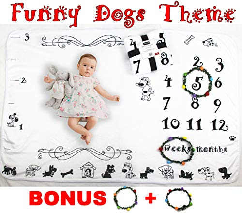Baby Milestone Blanket Fleece Soft Large 60 x 40 Inches Funny Dogs Theme Monthly Milestone Blanket for Baby Boys and -