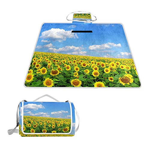 - OuLian Sunflowers Fantastic Waterproof Picnic Blanket Lawn Blanket Sandproof Beach Blanket Travel Tent BBQ Mat Camping Tote Layers Portable Family Size Handy Mat 57