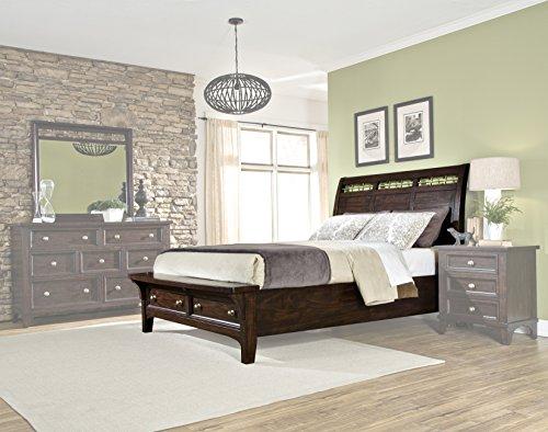 Intercon HY-BR-5950KS-RSE-C Hayden Complete Bed with Sleigh Headboard & Bench Seat Storage Footboard, King, Rough Sawn Espresso Finish -