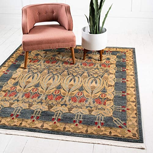 Unique Loom Edinburgh Collection Oriental Traditional French Country Navy Blue Square Rug 8 0 x 8 0