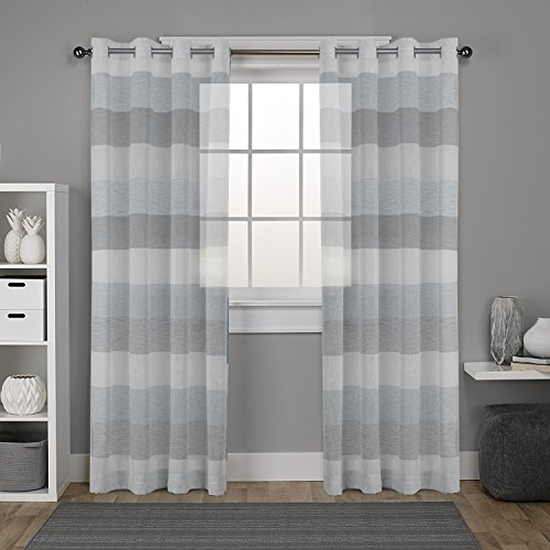French Striped Fabric (DEZENE Stripe Sheer Curtains for French Doors - 2 Panels - Faux Linen Grommets Tulle Curtains - 54 Inches Width x 96 Inches Long (Total 108