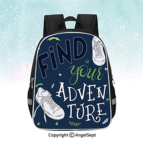 School Student Backpack,Youthful Design Find Your Adventure Quote Forest Elements and Sneakers Decorative,13