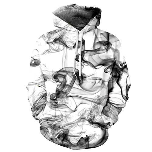 Mens Smoke New Jumper (F style New Stylish 3D Sweatshirts Print Watercolor Dreamy Smoke Lines Thin Style Autumn Winter Hooded Hoodies)