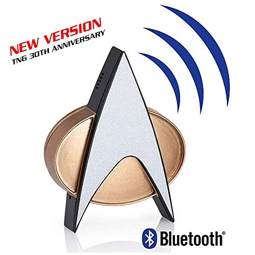 Star Trek Next Generation Bluetooth Communicator Badge - TNG Bluetooth Combadge with Chirp Sound Effects, Microphone & Speaker - Star Trek Memorabilia, Gifts, Collectibles, Gadgets & Toys for Startrek