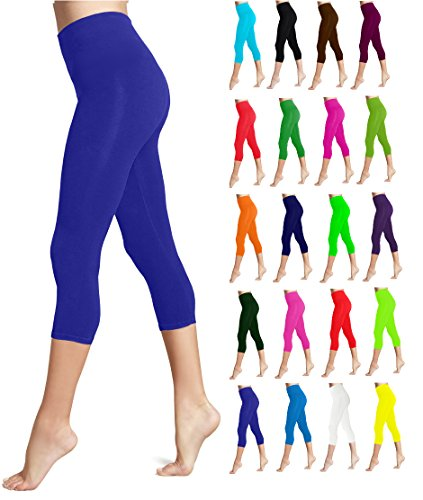Lush Moda Seamless Capri Length Basic Cropped Legging - Variety of Colors - Royal Blue OS