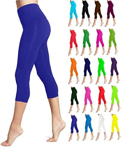 Lush Moda Seamless Capri Length Basic Cropped Legging - Variety of Colors - Royal Blue (Blue Womens Capris)