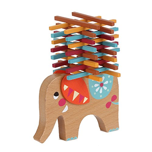 Elephant Stacking Toy (USATDD Wooden Blocks Toy Kids Balance Beam Stacking Elephant Balancing Game Educational)