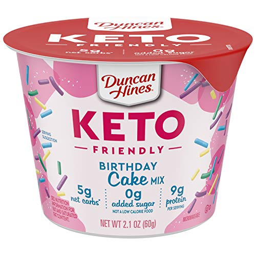 Duncan Hines Keto Friendly Birthday Cake Mix, Keto Friendly Birthday Cake Cup, 2.1 Ounce (Pack of 12)
