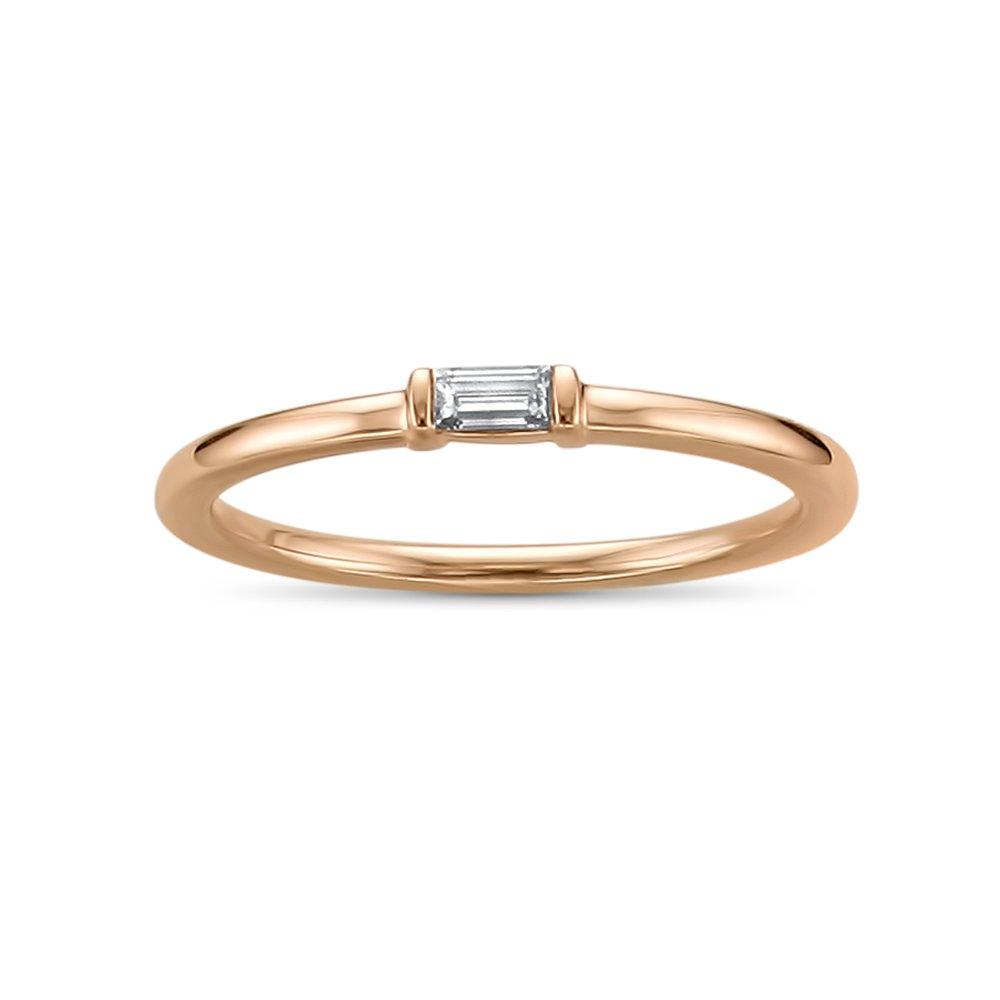 14k Rose Gold Baguette Solitaire Diamond Promise Ring (1/10 cttw, I-J, SI2-I1), Size 6