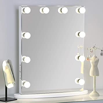 White Wall Mounted Vanity Mirror with Dimmer and USB Port for Bathroom VIVOHOME Hollywood Lighted Makeup Tabletop Vanity Mirror