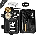 Emergency Survival Kits, OUTAD 13 IN 1 Outdoor Survival Gear Kit with Survival Bracelet, Emergency Blanket, Wire Saw for Hiking/Camping/Wilderness Adventures
