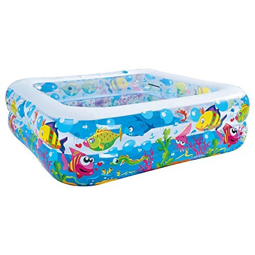 Jilong Sea World Square Pool - large rectangular children´s pool with fun sea animals print, for children from 6 years, 57 in x 57 in x 17.5 in MTS JL017421NPF -P76