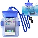 Insten Blue Waterproof Bag Case Lanyard Compatible With Apple iPod Nano 7 (7th Generation), Samsung Galaxy Ace, ZTE Quest