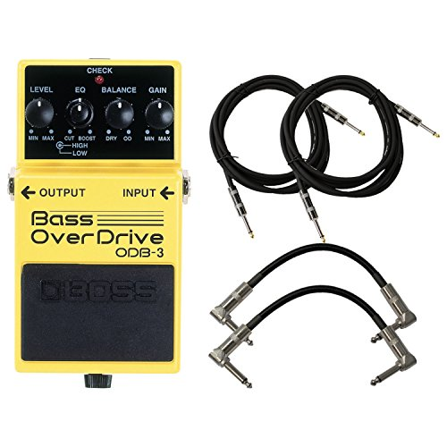 Boss Bass Equalizer (BOSS ODB-3 Bass Overdrive Pedal Bundle w/4 Cables)