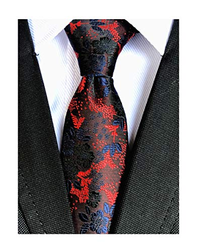 - Men's Navy Blue Red Tie Burgundy Floral Indigo Wedding Woven Maroon Silk Necktie