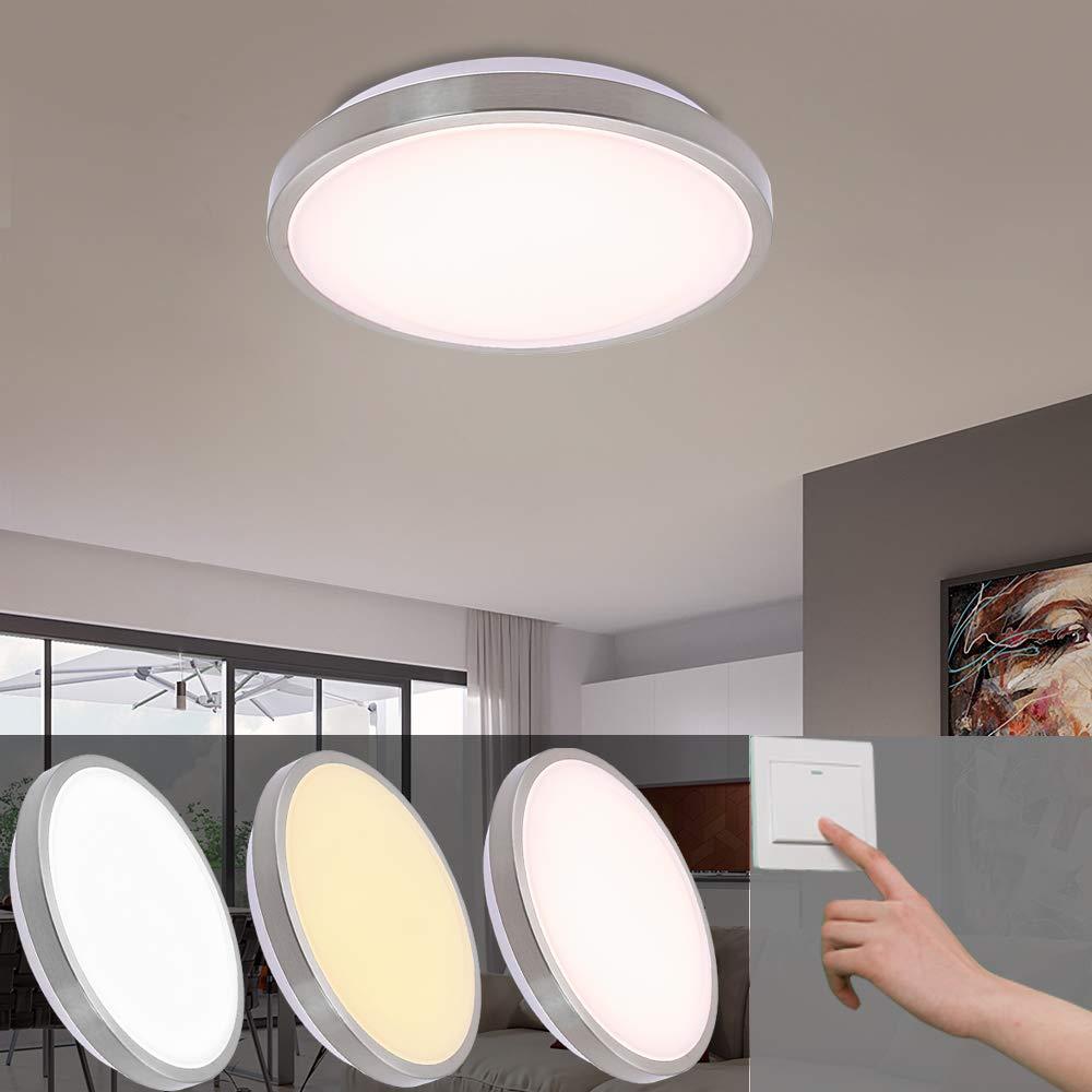 -Lámpara LED de techo Salón Lámpara bruñido redondo luz de aluminio moderna bajo Same útil iluminación, Níquel, 12w Farbwechsel 12.00W 264.00V