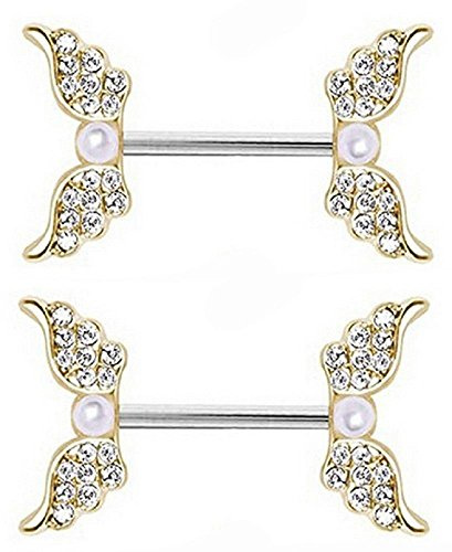 Body Accentz Nipple Ring Angel Wings bar body Jewelry sold as Pair 14g Faux ()