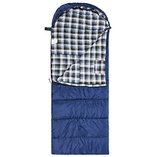 Cotton Flannel Sleeping Bag for Adults, 23/32F Comfortable, Envelope with Compression Sack Blue/Grey 2/3lbs(95″x35″)
