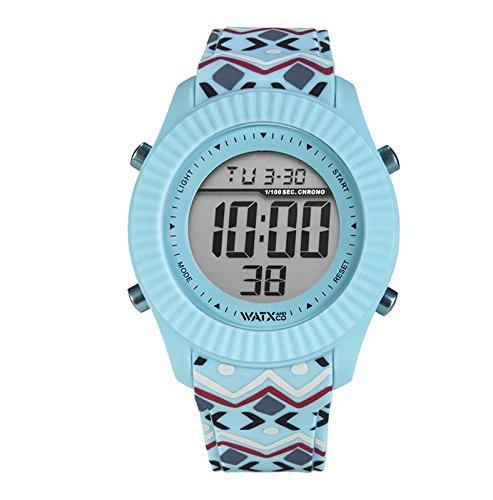 Reloj digital para mujeres de WatxandCo. Con correa de silicona azul con estampado tribal impreso. Caja con bisel azul y movimiento digital. 43mm.