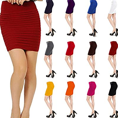 SPRINGWIND Women's Stretch High Waist Mini Skirt Bodycon Short Dress Valentines