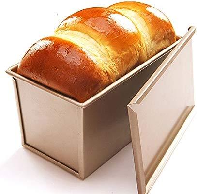 CANDeal Molde para Tostar con Tapa Rectangular Pan Antiadherente Tostado para Hornear para 450g de Masa, Oro, Liso
