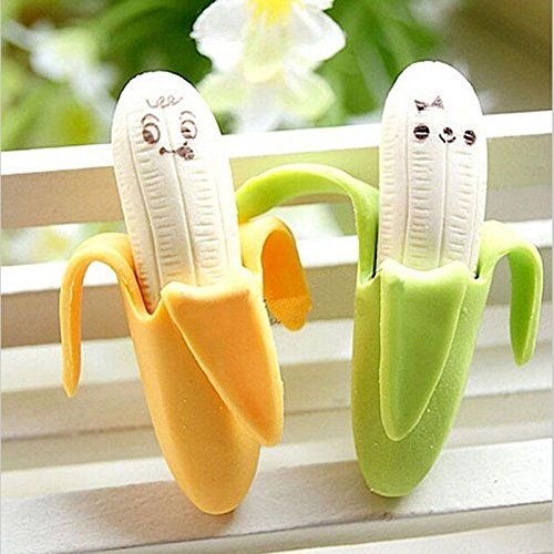 XENO-2PCS Lovely Banana Fruit Style Rubber Pencil Eraser Office Stationery Gift Toy