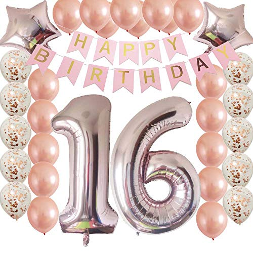 Cheeringup Sweet16th Birthday Decorations Party Supplies Set Rose Gold Confetti Latex Balloons Happy 16th