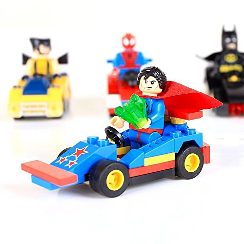 F4pcs BatMan Super Hero Super Man Spider-Man Model Blocks Minifigures Thinks Toy
