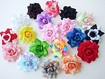 Amazon 50 Pcs Assorted Roses Silk Flower Head 10 Colors Size