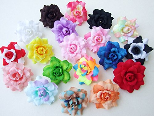 (50 pcs.) Assorted Roses Silk Flower Head 10 Colors Size 1.75